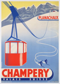 Original Vintage Swiss Winter Poster promoting the cable car connecting Champéry and Planachaux in the canton of Valais, by Bordigoni, 1947