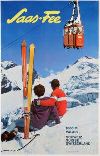 Original Swiss Vintage Ski Poster, Saas Fee, Valais