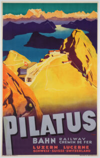 Originalplakat von Otto Ernst aus dem Jahr 1934, das die Pilatus-Bahn bewirbt