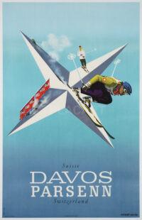 Herbert Leupin Original Swiss Vintage Poster Davos Parsenn 1946