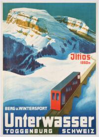 Originales Schweizer Tourismus-Plakat, Unterwasser und das Toggenburg bewerbend, 1934