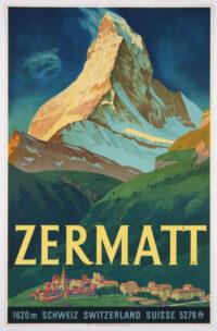 Original VIntage Swiss Travel Poster promoting Zermatt, lithograph printed 1933