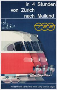 Originales Plakat Trans European Express von Kurt Wirth, 1961, Zürich Mailand