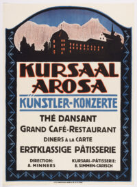 Original Swiss Vintage Poster promoting the Hotel Kursaal in the Winter Resort of Arosa