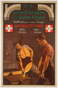 Original Swiss Vintage Industry Poster, promoting the products of Georg Fischer, Schaffhausen
